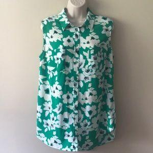 Merona tank top floral green blouse shirt
